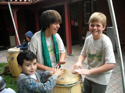 Camp kids playing drums